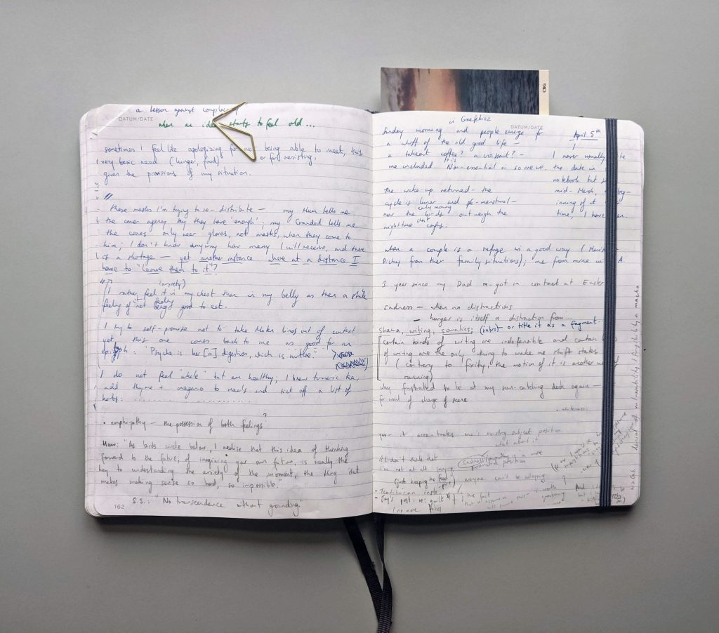 open notebook showing handwriting and postcard used as bookmark