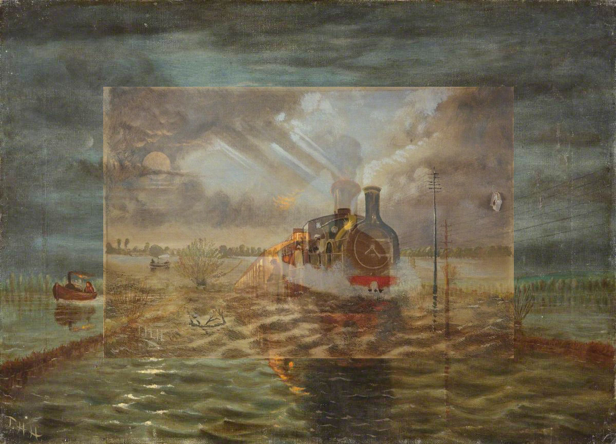 painterly image of a steam train reflected in a sea of water