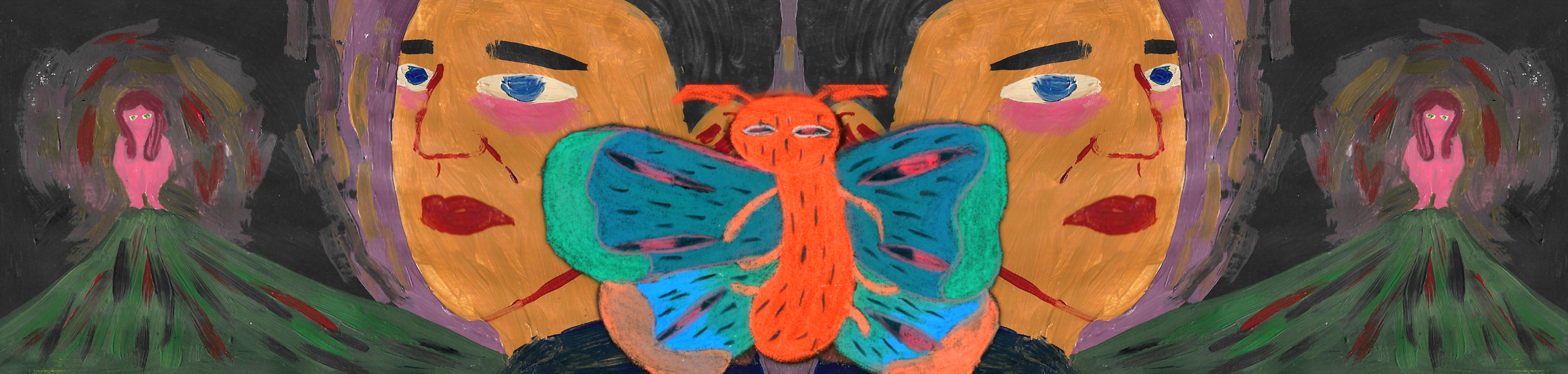painted image of a colourful butterfly with two worried faces mirrored symmetrically beyond its wings