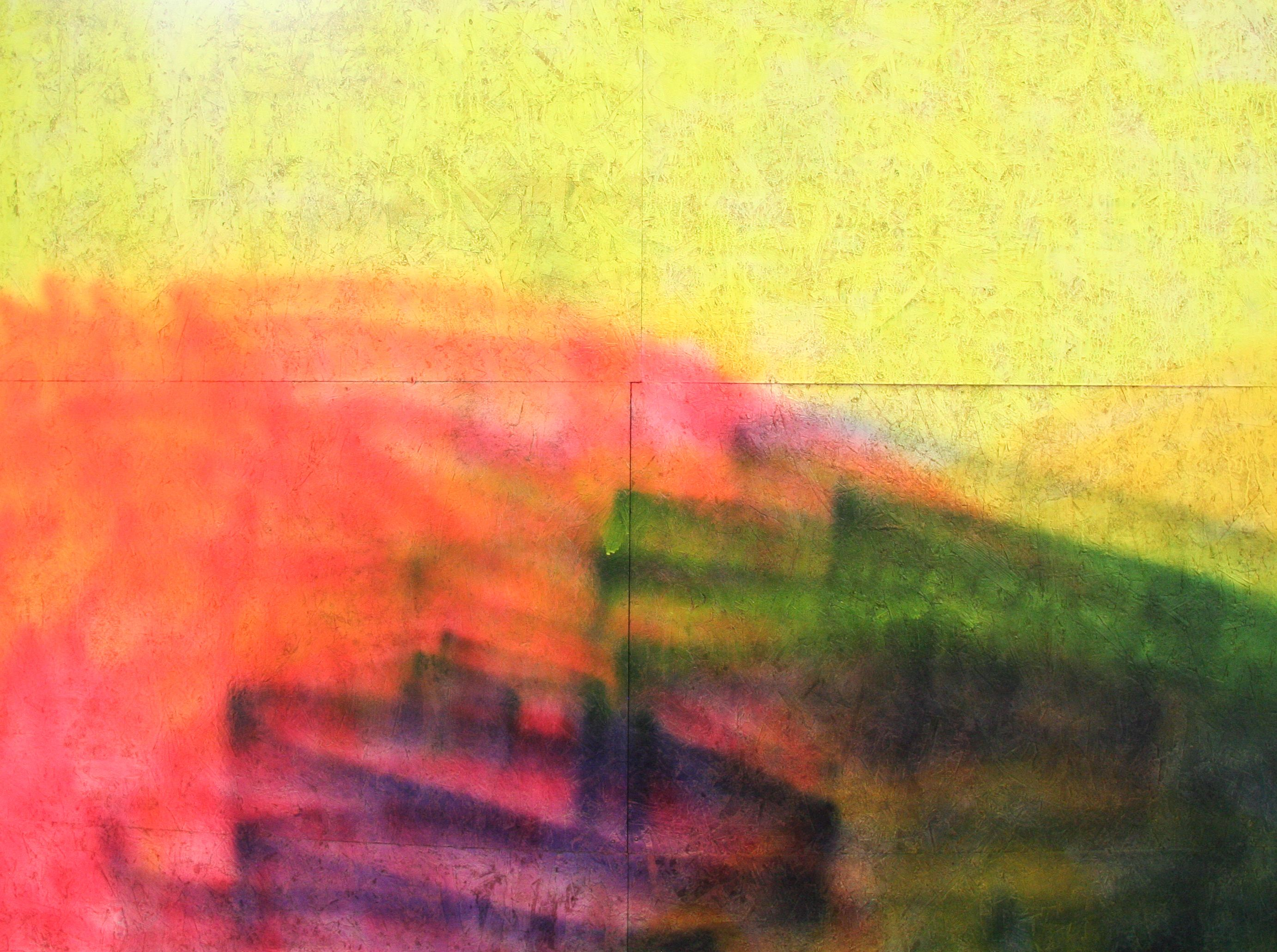 abstract image painted with flourescent yellow, pink, purple and green