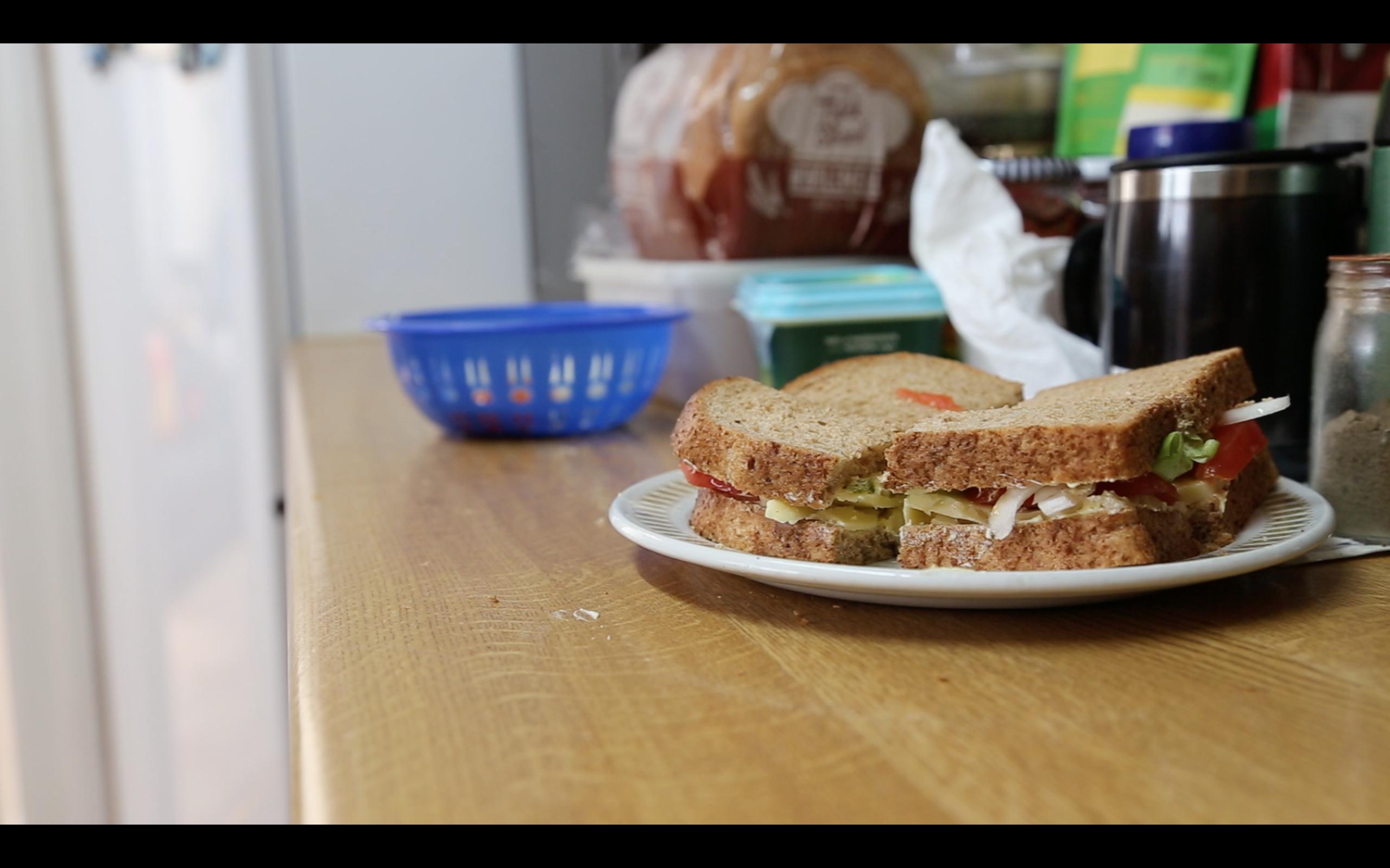 sandwich on a kitchen worktop